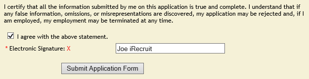 applicant employment application electronic signature